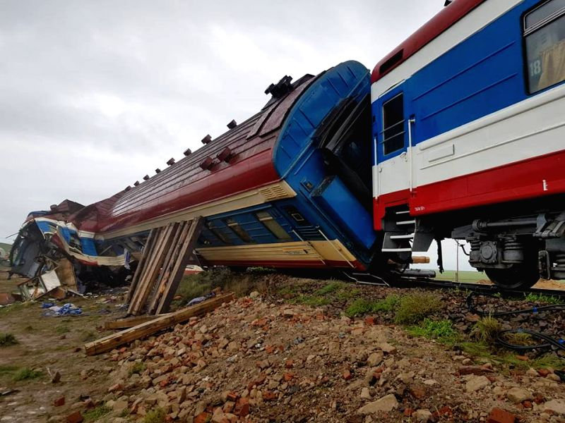 DORNOGOVI, Aug. 12, 2018 - Photo taken on Aug. 12, 2018, shows the accident site where a train derailed in southeastern Mongolia. At least four coaches of a train with 328 passengers aboard derailed ...