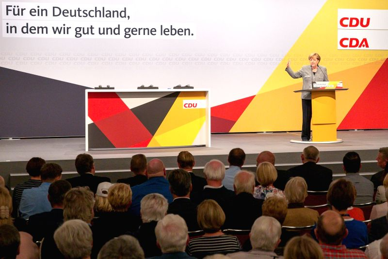 DORTMUND, Aug. 12, 2017 - German Chancellor Angela Merkel speaks during an election rally for Germany's federal election in Dortmund, Germany, on Aug. 12, 2017.