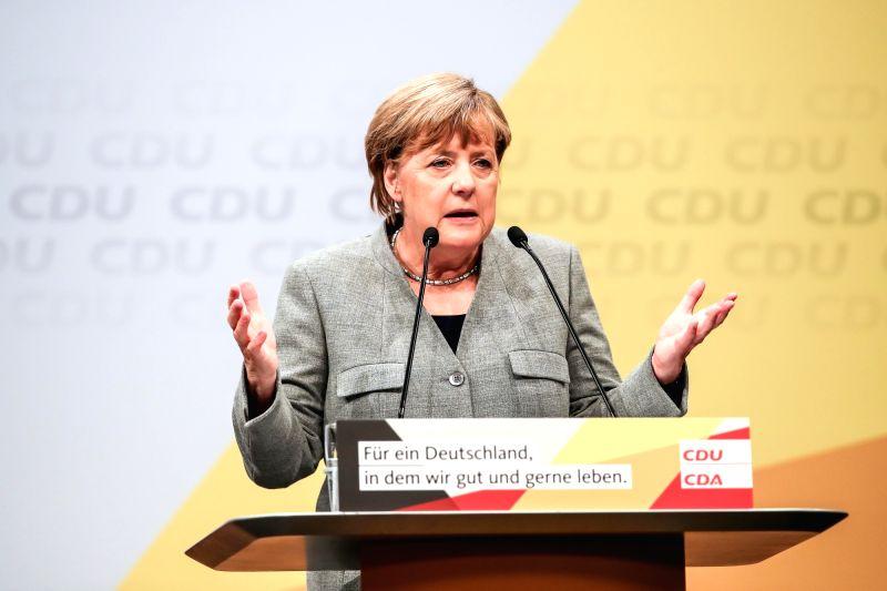 GERMANY-DORTMUND-MERKEL-ELECTION RALLY
