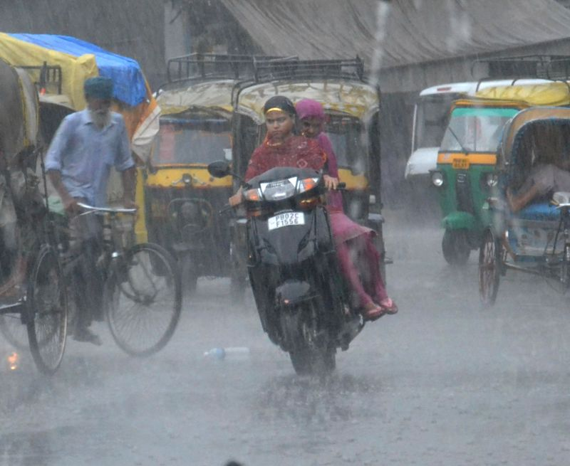 Downpour in Amritsar on July 17, 2014.