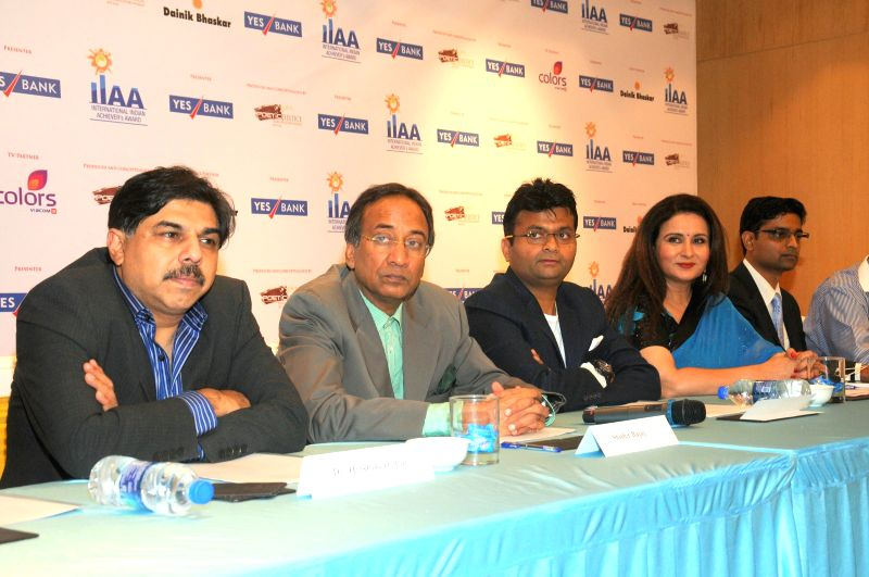 Dr. Hrishikesh Pai, Shishir Bajaj, Aneel Murarka, Poonam Dhillon and Rajat Mehta during the press conference for the announcement of International Indian Achievers Awards (IIAA) trophy in Mumbai on .. - Rajat Mehta
