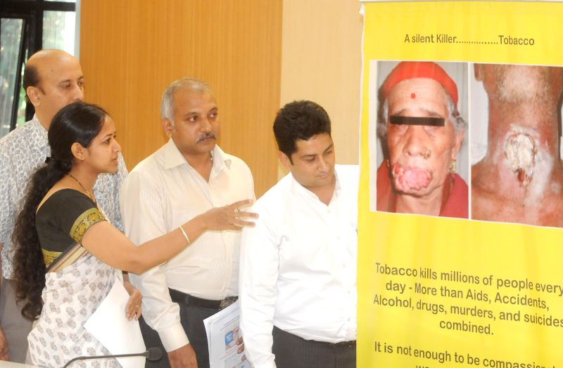 Dr. Pragati Hebbar, Dr Murali Iyer and Dr. Prabhuji during a press conference on hike in Tobacco Taxes to Save Youngsters organised by Indian Dental Association in Bangalore on July 4, 2014.