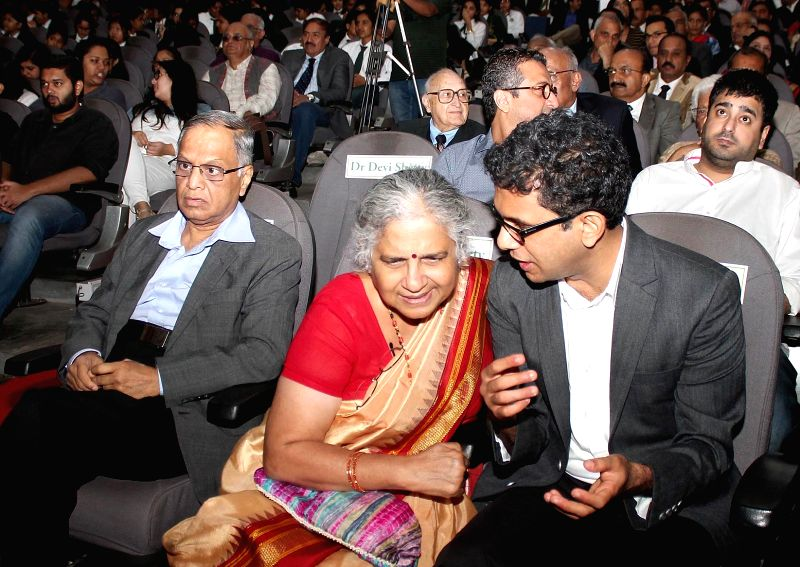 Dr Rohan Narayana Murthy with his father Infosys co-founder N R Narayana Murthy at 11th General K S Thimayya Memorial Lecture in Bengaluru, on Nov 21, 2015.