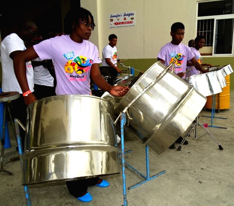 Drummers during the first test match between India and West Indies at Sir Vivian Richards Stadium in Antigua on July 21, 2016.