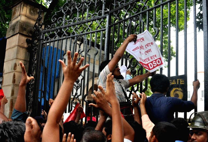 DSO activists stage a demonstration to press for re-introduction of pass-fail system up to class VII in front West Bengal Assembly in Kolkata on May 29, 2017.
