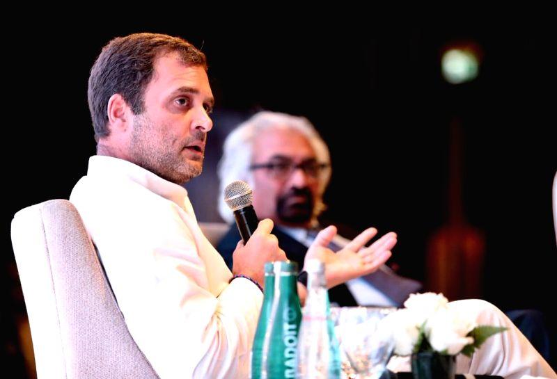 Dubai: Congress President Rahul Gandhi addresses the members of Indian Business and Professional Council, in Dubai, UAE, on Jan 11, 2019. (Photo: IANS/Congress) - Rahul Gandhi