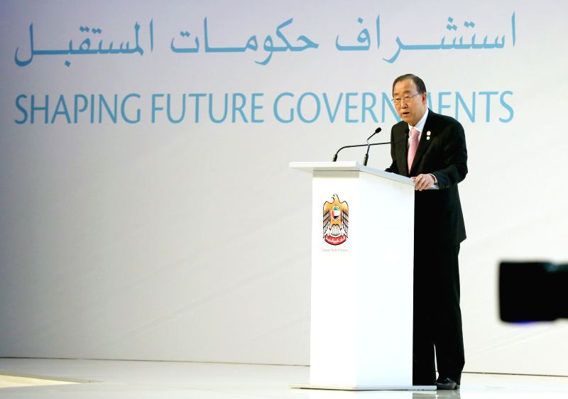 UN Secretary General Ban Ki-moon delivers a speech during the third annual United Arab Emirates (UAE) government summit in Dubai, UAE, on Feb. 9, 2015. (Xinhua/Li ...