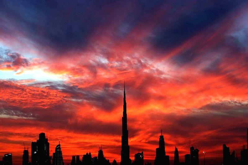 The Burj Khalifa at sunset in Dubai, the United Arab Emirates (UAE)