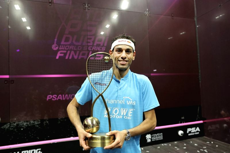 DUBAI, June 10, 2018 - Mohamed El-shorbagy of Egypt celebrates during the awarding ceremony after the men's final match against Ali Farag of Egypt at Dubai World Series Finals squash tournament in ...