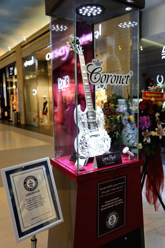 "DUBAI, May 23, 2016 - Coronet's diamond guitar, which sets a Guinness World record for ""Most Valuable Guitar"", is shown in Dubai, United Arab Emirates (UAE), May 22, 2016. The guitar is ..."