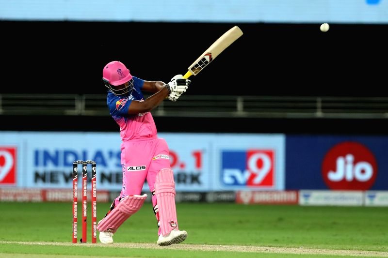 Dubai: Sanju Samson of Rajasthan Royals whiteout but is caught by Sunil Narine of Kolkata Knight Riders during match 12 of season 13 of the Dream 11 Indian Premier League held at the Dubai International Cricket Stadium, Dubai in the United Arab Emira