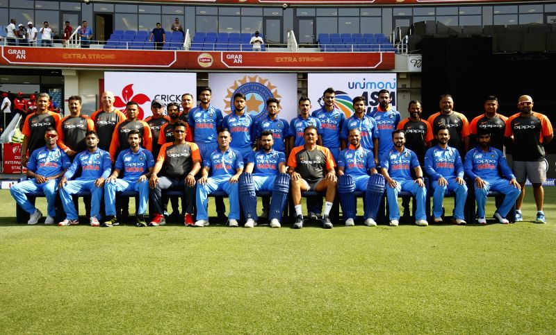 :Dubai: Team India during a photo session ahead of the fourth match (Group A) of Asia Cup 2018 between Hong Kong and India at Dubai International Cricket Stadium on Sept 18, 2018. (Photo: Surjeet ...