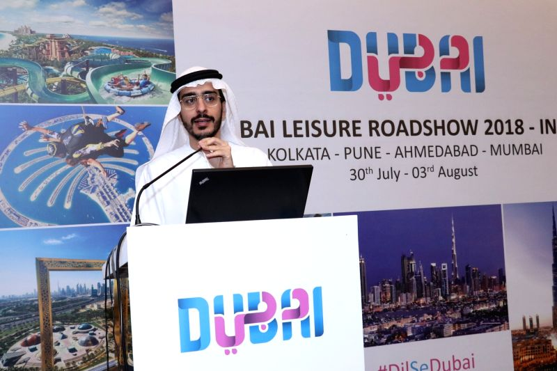 Dubai Tourism Manager (India & Pakistan, International Operations) Khalid M. Alawar addresses during a Dubai Tourism programme in Kolkata on July 29, 2018.