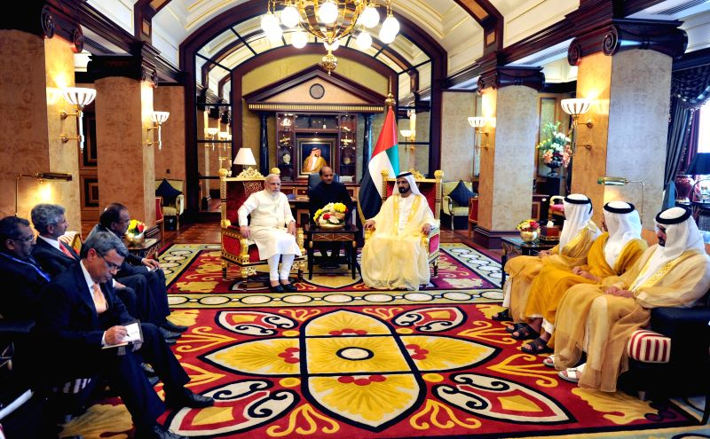 Indian Prime Minister Narendra Modi meets the Vice-President and Prime Minister of UAE, HH Mohammed bin Rashid Al Maktoum, at Zaâbeel Palace, Dubai.