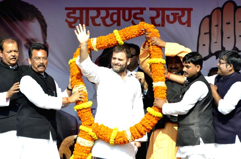 Congress vice-president Rahul Gandhi during a rally ahead of the fifth phase of Jharkhand assembly polls at Sikari Para Constituency in Dumka, Jharkhand on Dec 17, 2014.