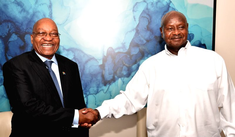 DURBAN, May 4, 2017 - South African President Jacob Zuma (L) shakes hands with Ugandan President Yoweri Kaguta Museveni during a bilateral meeting on the sidelines of World Economic Forum (WEF) on ...