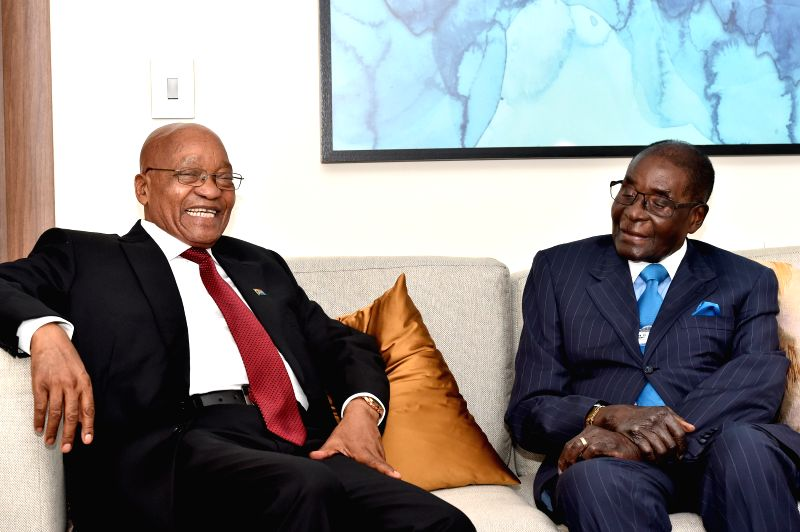 DURBAN, May 4, 2017 - South African President Jacob Zuma (L) meets with Zimbabwean President Robert?Mugabe during bilateral talks on the sidelines?of World Economic Forum on Africa in Durban, ...