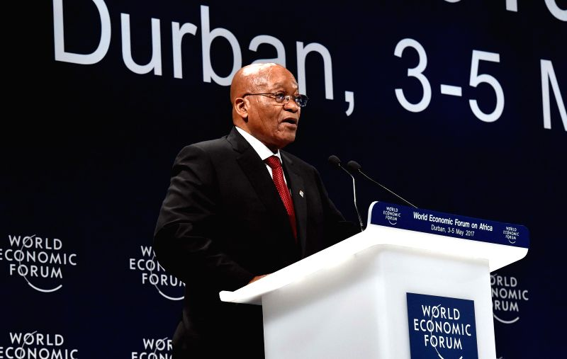 DURBAN, May 4, 2017 - South African President Jacob Zuma addresses the 2017 World Economic Forum Africa regional meeting in Durban, South?Africa, on May 4, 2017. South African President Jacob Zuma on ...
