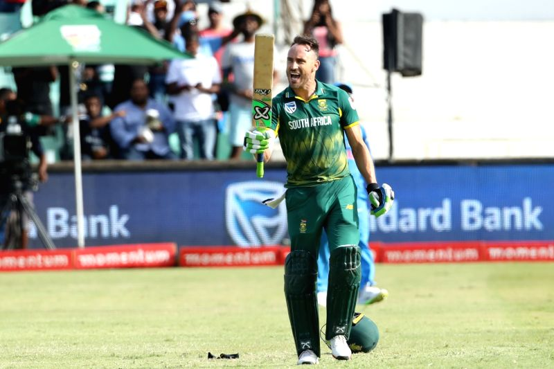 : Durban: South African skipper Faf du Plessis celebrates his century during the 1st ODI match between India and South Africa at Kingsmead Cricket Ground in Durban, South Africa on Feb 1, 2018. ...