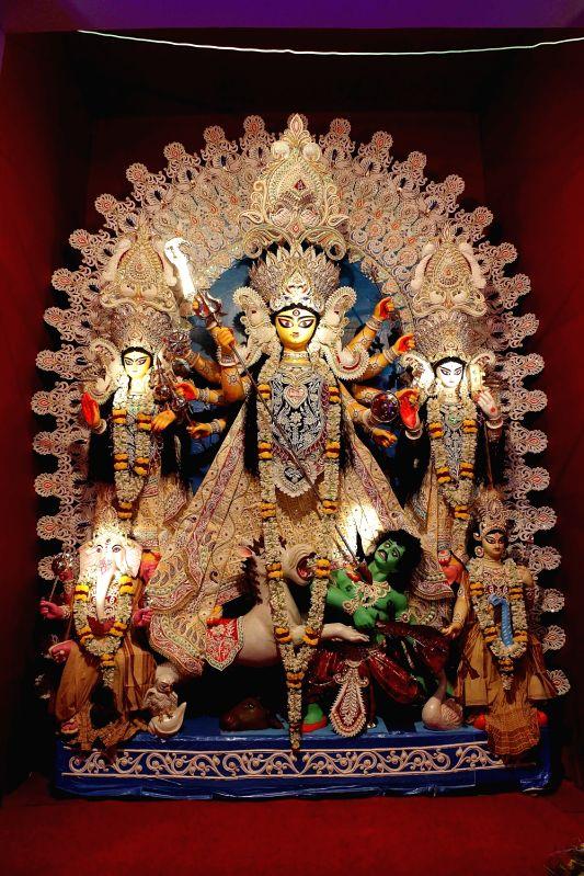 Durga idol at Agradut Udaya Sangha Durga Puja Pandal in Kolkata.