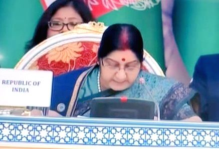 : Dushanbe: External Affairs Minister Sushma Swaraj addresses at the Extended Format Meeting of Shanghai Cooperation Organization (SCO) Heads of Government Council, in Dushanbe, Tajikistan, on Oct ...