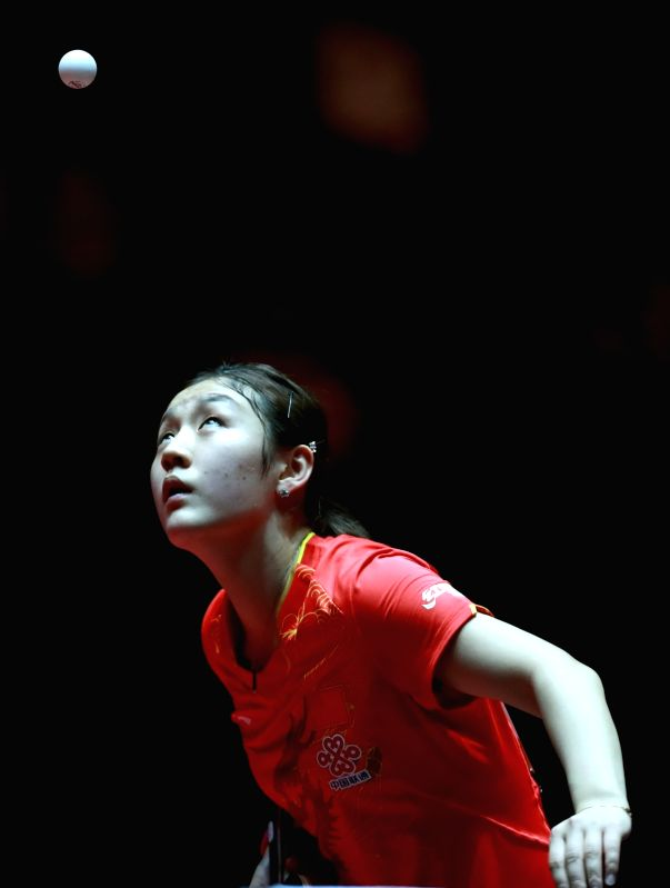 DUSSELDORF, June 2, 2017 - Chen Meng of China competes during the women's singles match against her compatriot Zhu Yuling at the 2017 World Table Tennis Championships in Dusseldorf, Germany, June 2, ...
