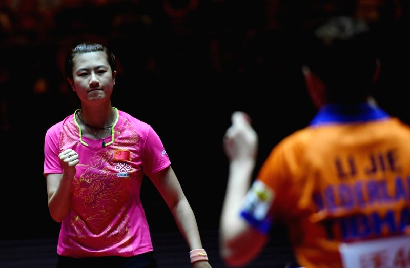 DUSSELDORF, June 2, 2017 - Ding Ning(L) of China celebrates after the women's singles match against Li Jie of the Netherlands at the 2017 World Table Tennis Championships in Dusseldorf, Germany, June ...