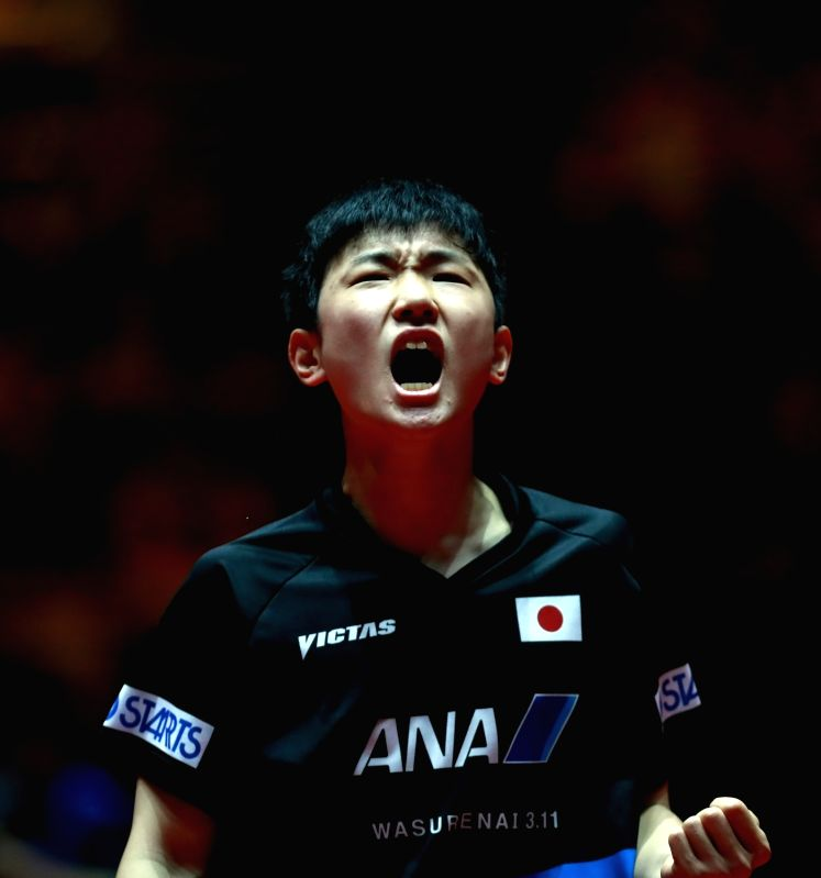 DUSSELDORF, June 2, 2017 - Harimoto Tomokazu of Japan celebrates after the men's singles match against Liao Cheng-Ting of Chinese Taipei at the 2017 World Table Tennis Championships in Dusseldorf, ...