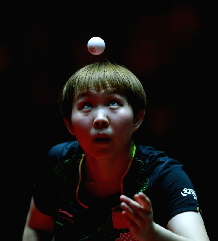 DUSSELDORF, June 2, 2017 - Zhu Yuling of China competes during the women's singles match against her compatriot Chen Meng at the 2017 World Table Tennis Championships in Dusseldorf, Germany, June 2, ...
