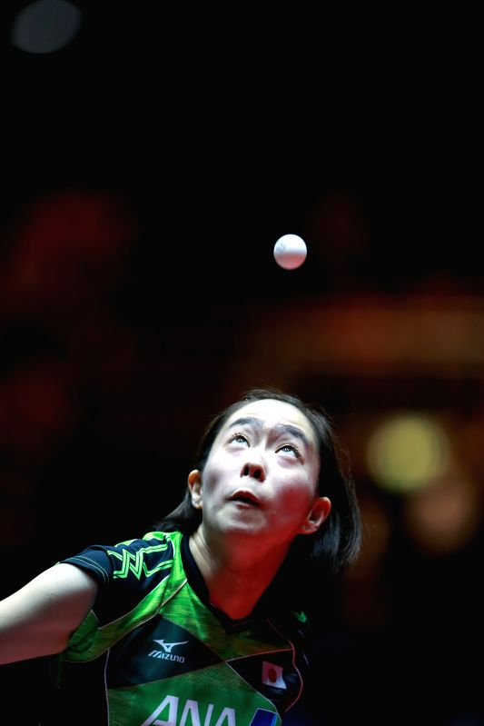 DUSSELDORF, June 3, 2017 - Ishikawa Kasumi of Japan serves during the women's singles quarterfinal match against Ding Ning of China at the 2017 World Table Tennis Championships in Dusseldorf, ...