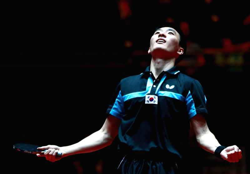 DUSSELDORF, June 3, 2017 - Lee Sangsu of South Korea celebrates after winning the men's singles third round match against Zhang Jike of China at the 2017 World Table Tennis Championships in ...