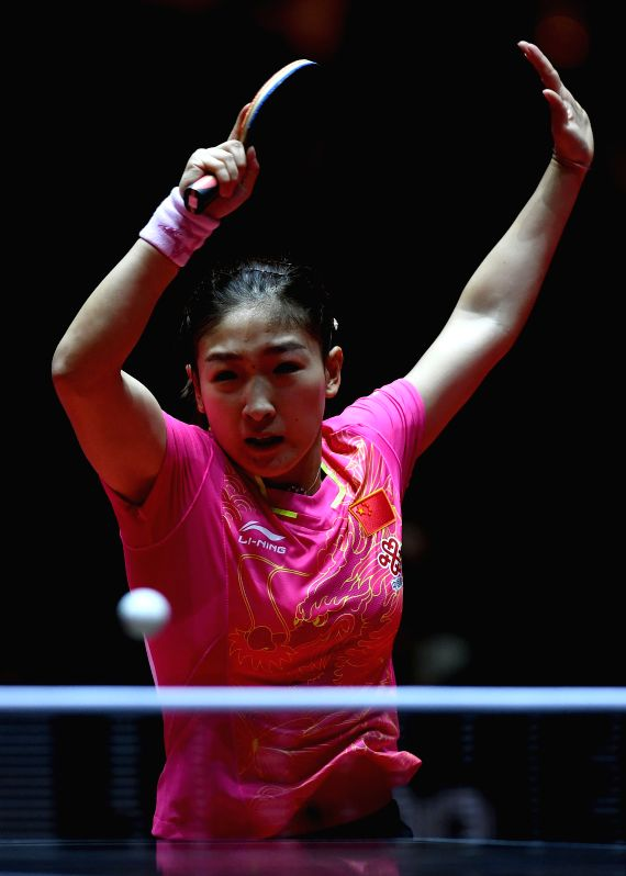 DUSSELDORF, June 3, 2017 - Liu Shiwen of China competes during the women's singles quarterfinal match against Mu Zi of China at the 2017 World Table Tennis Championships in Dusseldorf, Germany, on ...