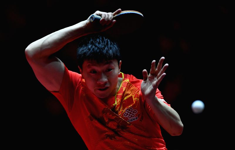 DUSSELDORF, June 3, 2017 - Ma Long of China competes during the men's singles third round match against Ovidiu Ionescu of Romania at the 2017 World Table Tennis Championships in Dusseldorf, Germany, ...