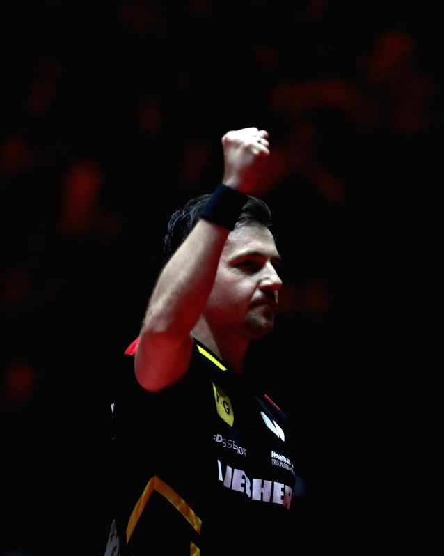 DUSSELDORF, June 4, 2017 - Germany's Timo Boll celebrates during the men's singles match against Portugal's Marcos Freitas at the 2017 World Table Tennis Championships in Dusseldorf, Germany, June 3, ...