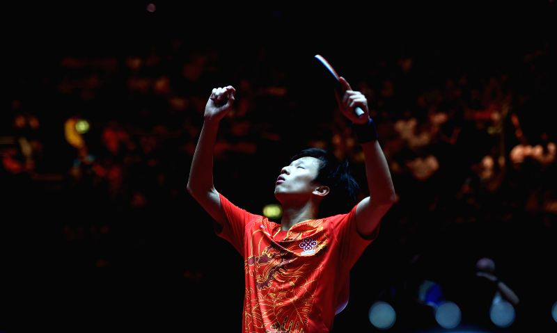 DUSSELDORF, June 4, 2017 - Lin Gaoyuan of China reacts during the men's singles match against his compatriot Xu Xin at the 2017 World Table Tennis Championships in Dusseldorf, Germany, June 4, 2017.