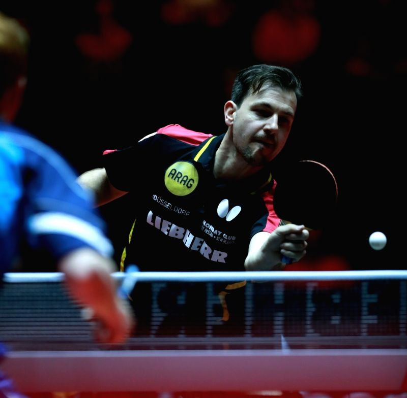 DUSSELDORF, May 31, 2017 - Germany's Timo Boll competes during the men's singles first round match against Gavin Rumgay of Scotland at the 2017 World Table Tennis Championships in Dusseldorf, ...