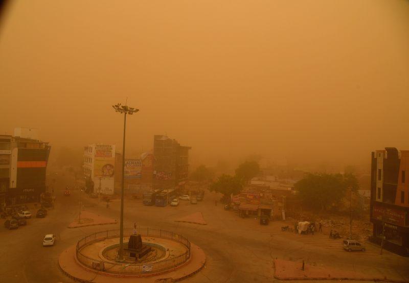 Dust storm engulfs Bikaner on June 9, 2018.