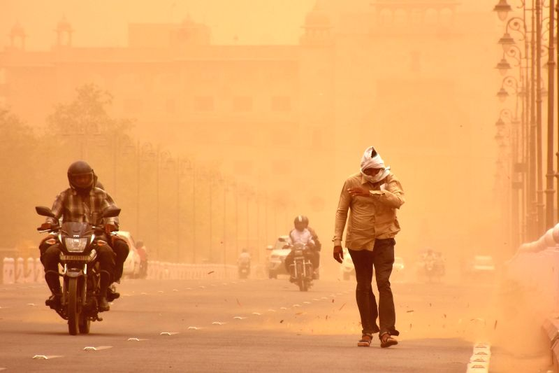 Dust storm hits Jaipur, on June 8, 2018.