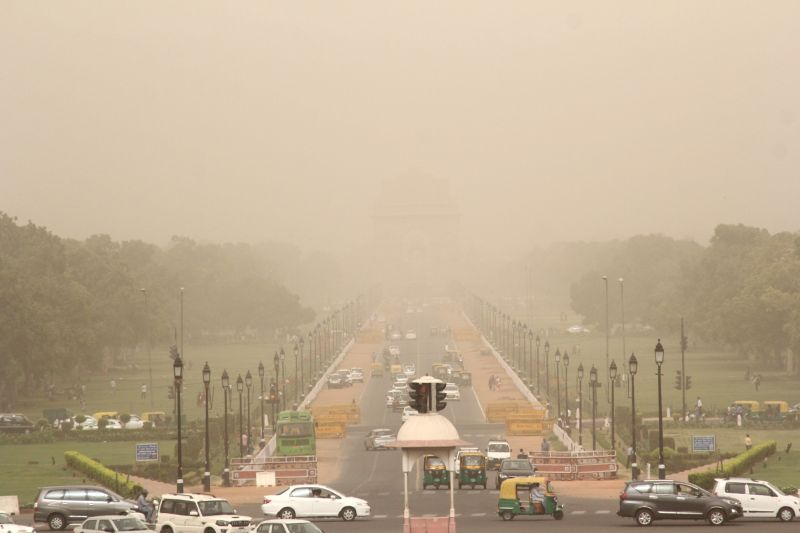 Dust storm reduces visibility, in New Delhi on June 12, 2018.