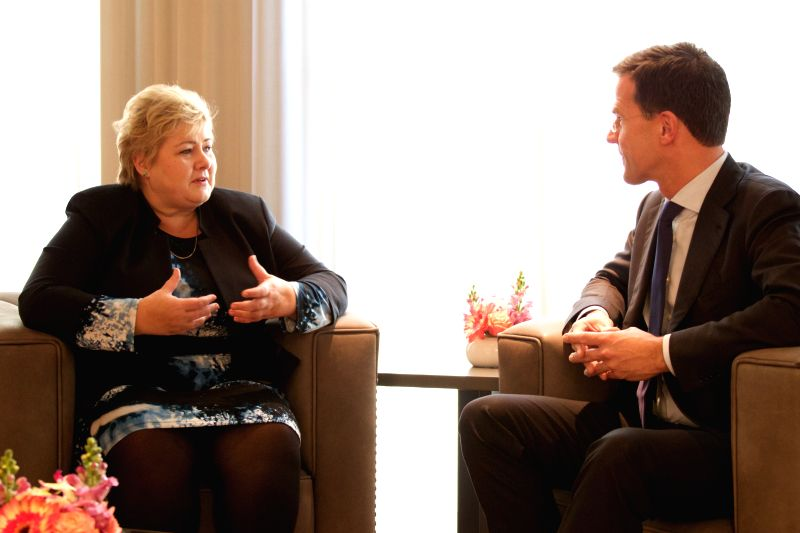 Dutch Prime Minister Mark Rutte (R) meets with visiting Prime Minister of Norway Erna Solberg in The Hague, the Netherlands, Dec. 9, 2015. (Xinhua/Sylvia ... - Mark Rutte