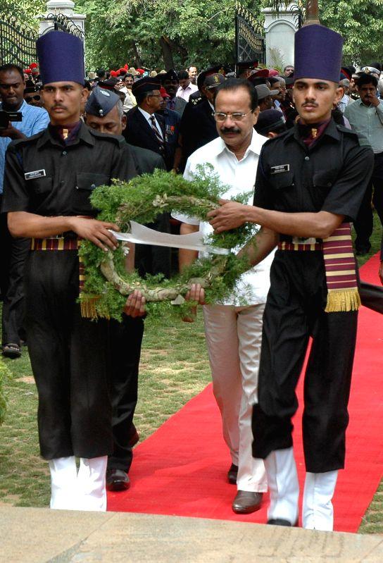 DV Sadananda Gowda, Union Minister for Railways, laid wreath and paying homage to the martyrs of Kargil conflict to mark the 15th Kargil Diwas Day at Rashtriya Sainik Smaraka, Indira Gandhi Musical ..