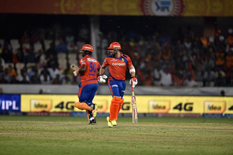 Dwayne Smith and Brendon McCullum of Gujarat Lions during an IPL match between Sunrisers Hyderabad and Gujarat Lions at Rajiv Gandhi International Stadium in Hyderabad on May 6, 2016.