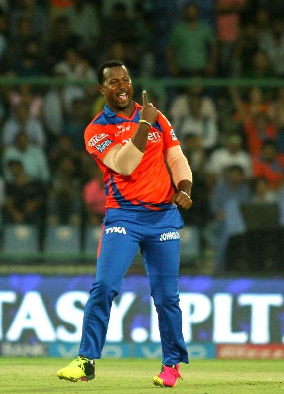 Dwayne Smith of Gujarat Lions celebrates fall of a wicket during Qualifier 2 of IPL 2016 between Gujarat Lions and Sunrisers Hyderabad at Feroz Shah Kotla Stadium in New Delhi on May 27, ...