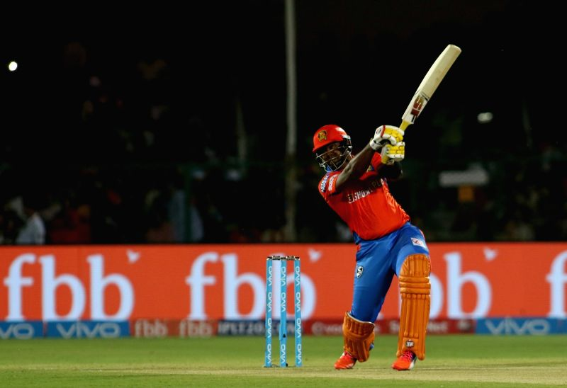 Dwayne Smith of Gujarat Lions in action during an IPL 2017 match between Gujarat Lions and Delhi Daredevils at Green Park in Kanpur on May 10, 2017.