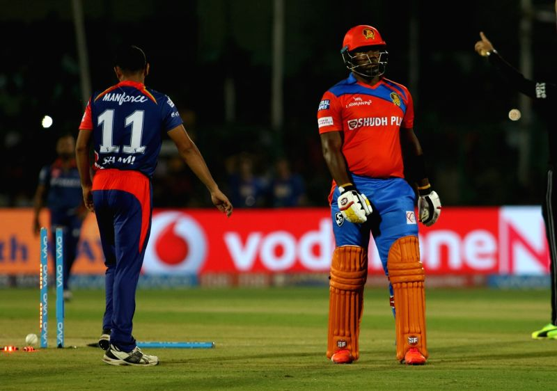 Dwayne Smith of Gujarat Lions reacts after getting dismissed during an IPL 2017 match between Gujarat Lions and Delhi Daredevils at Green Park in Kanpur on May 10, 2017.
