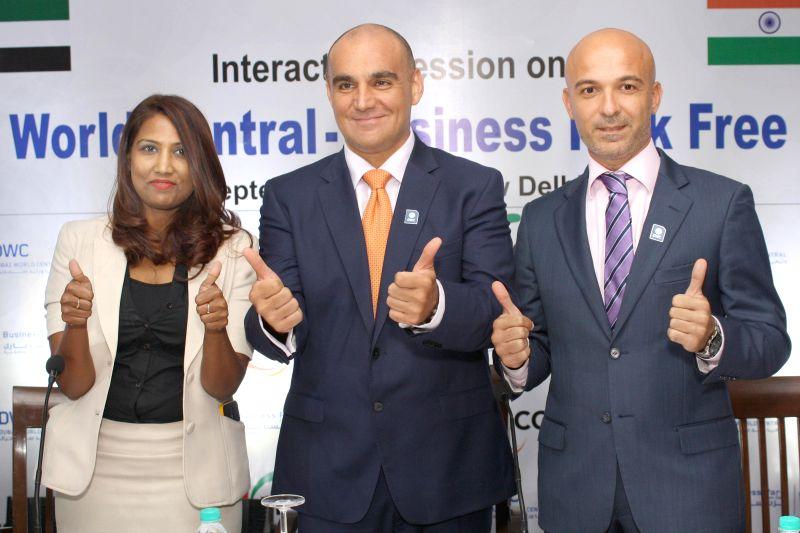 DWC delegation members Shivani Tanniv Paolo Serra and Andreea Colo during a press conference regarding Dubai World Central - Business Park in New Delhi on Sept 1, 2014.