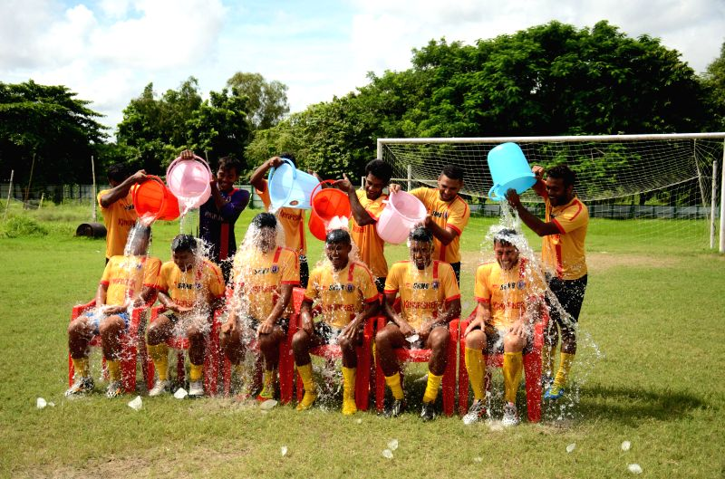 East Bengal Football club players took ``ALS Ice Bucket Challange`` in Kolkata on Aug. 30, 2014.