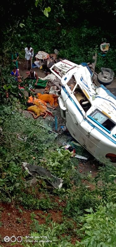 East Godavari: Eight persons were killed when the tourist bus they were travelling in met with a road accident in Andhra Pradesh's East Godavari district on Oct 15, 2019.