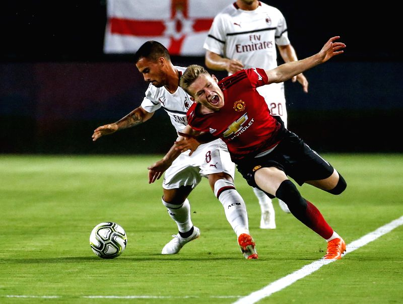 EAST RUTHERFORD, July 26, 2018 - Manchester United's Scott Francis McTominay (Front) competes during the International Champions Cup match between AC Milan and Manchester United at MetLife Stadium in ...