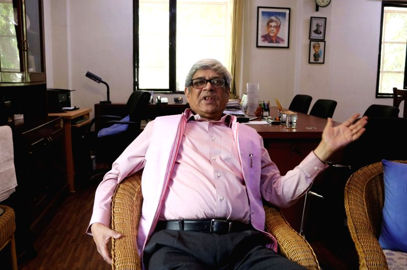 Economist and NITI Aayog member Bibek Debroy during an interview with IANS in New Delhi.